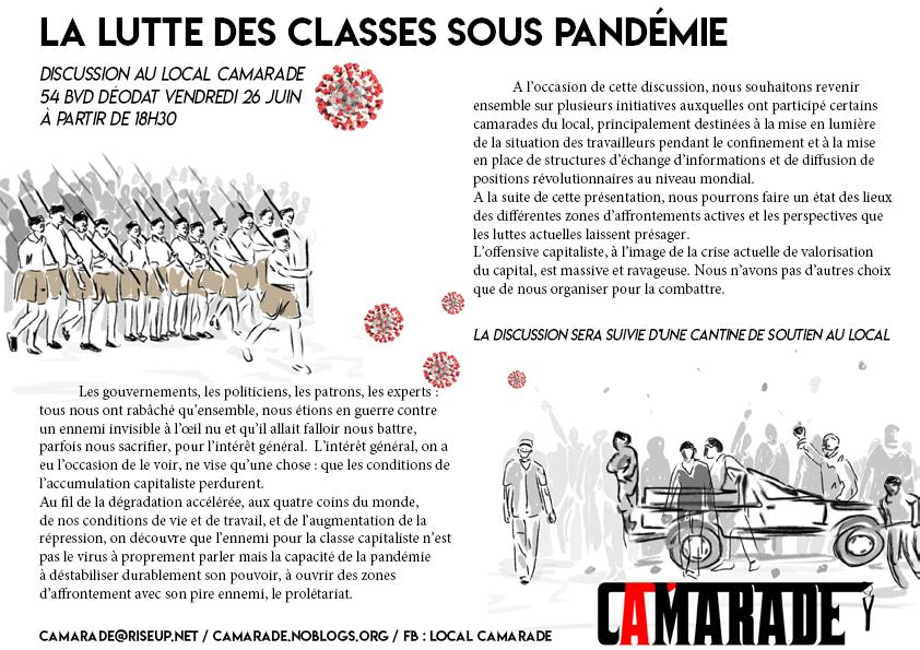 La lutte des classes sous pandémie – Vendredi 26 juin 18h30