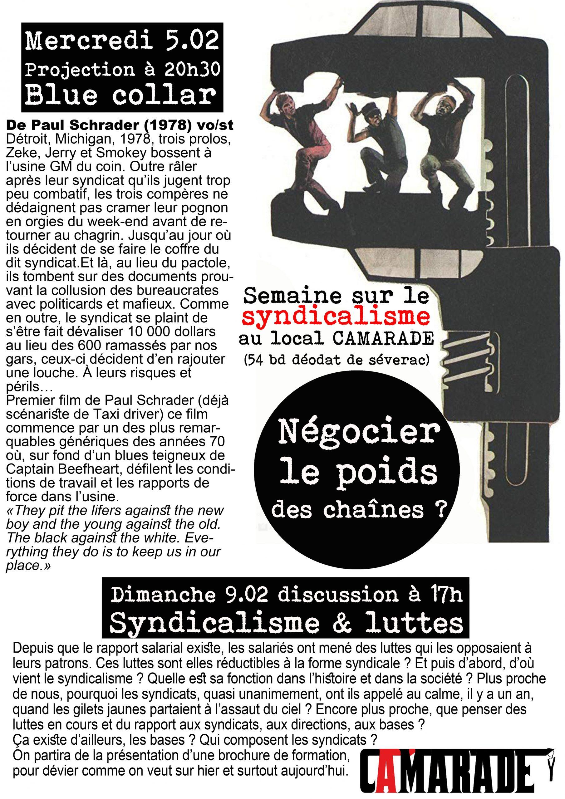Semaine sur le syndicalisme, mercredi 5 & dimanche 9 février 2020
